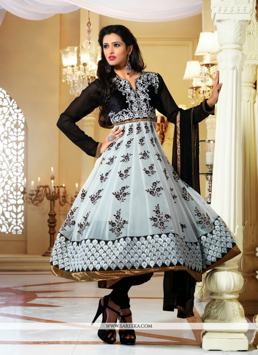 Off White And Black Viscose Georgette Anarkali Suit