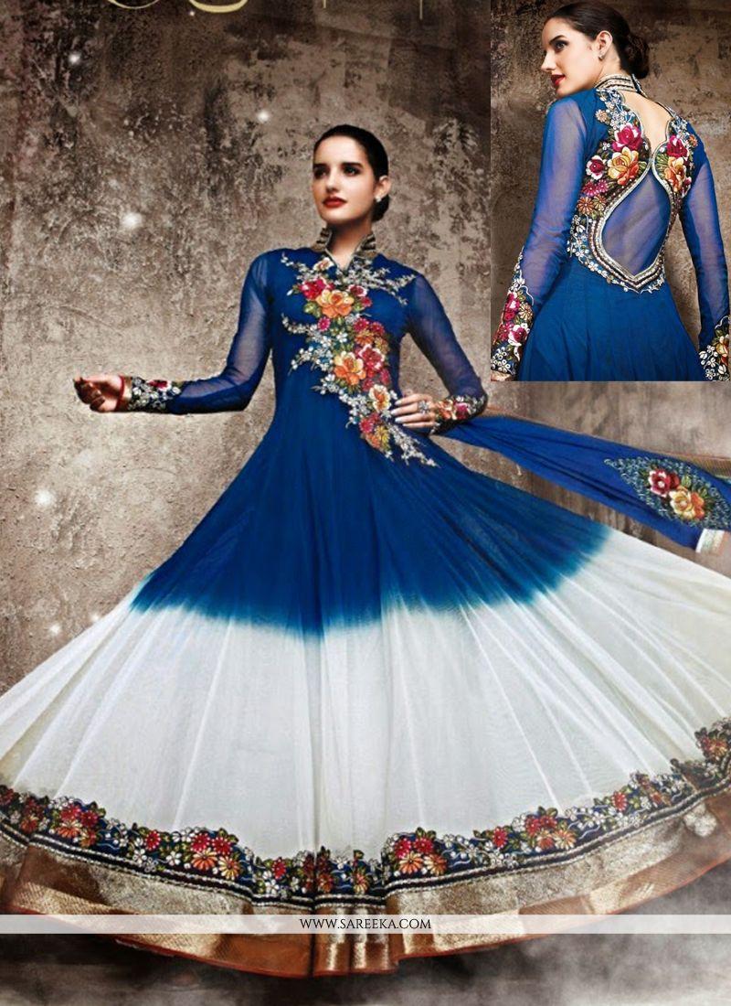 Off White And Blue Georgette Anarkali Salwar Suit