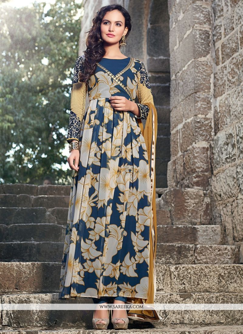 Off White And Blue Georgette Anarkali Suit