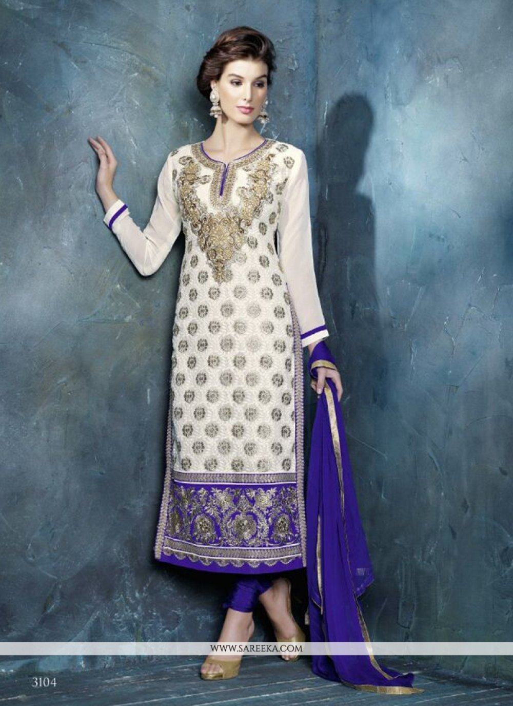 Off White And Blue Georgette Churidar Suit