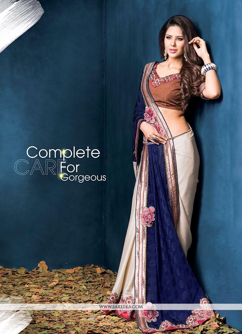 Off White And Blue Jacquard Designer Saree