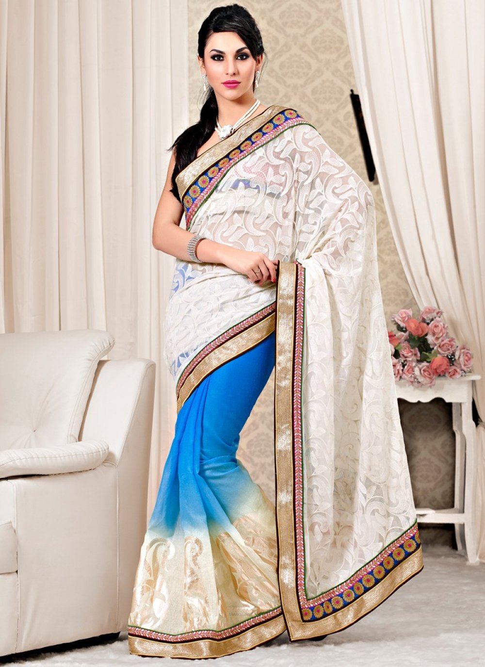 Off White And Blue Jute Silk With Satin Fabric Saree