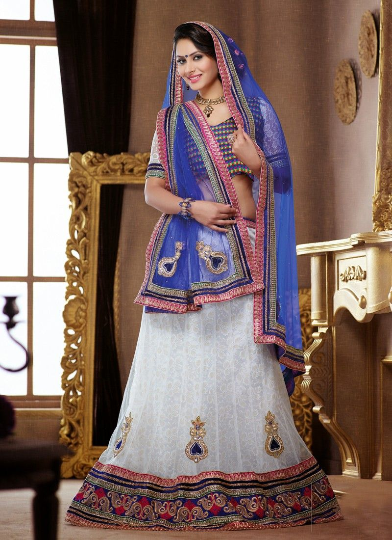 Off White And Blue Stone Work Net Lehenga Choli