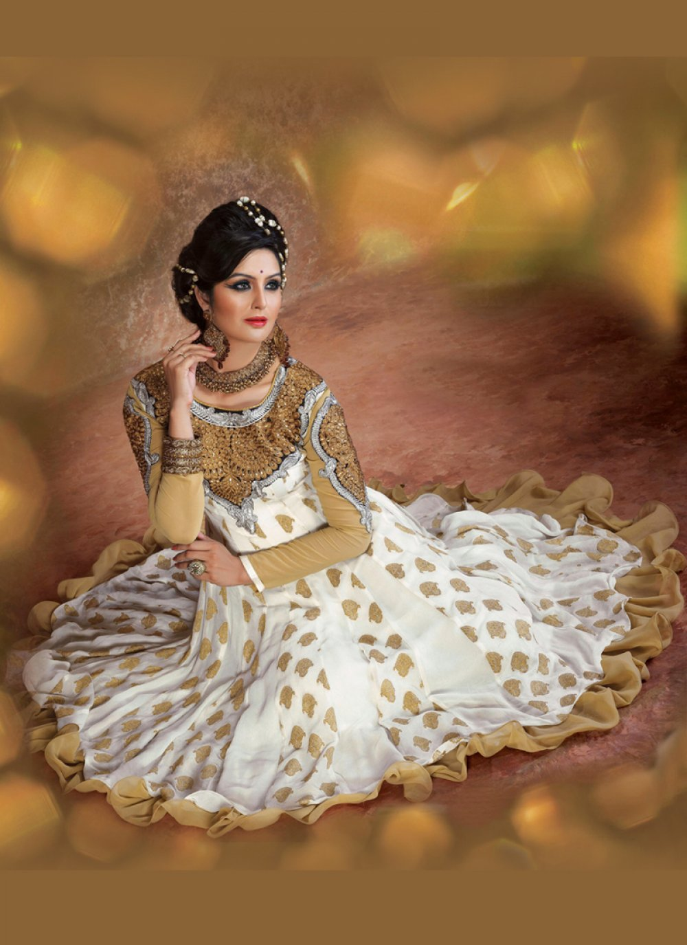 Off White And Brown Embroidery Work Georgette Anarkali Suit