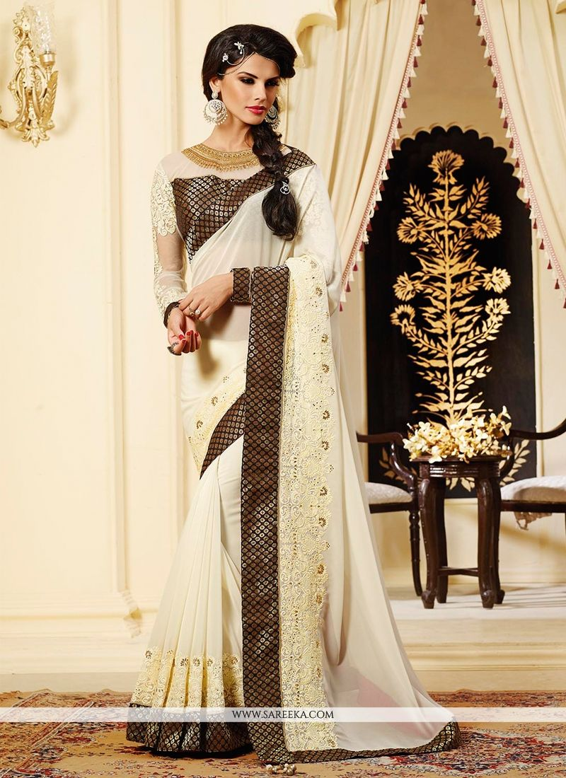 Off White And Cream Georgette Designer Saree