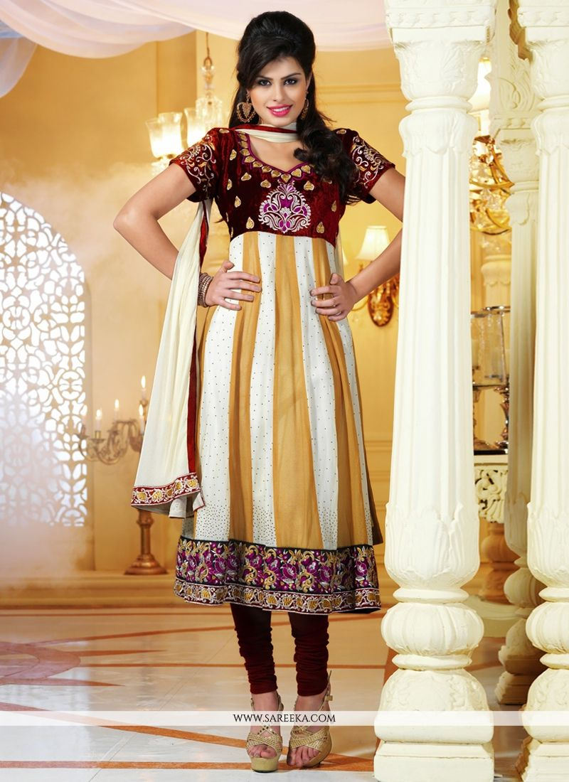 Off White And Cream Viscose Georgette Churidar Suit