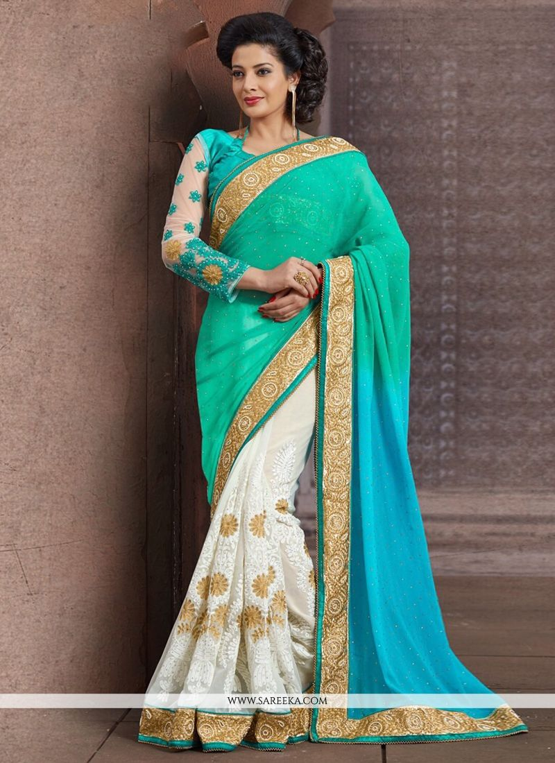 Off White And Green Faux Chiffon Half And Half Saree
