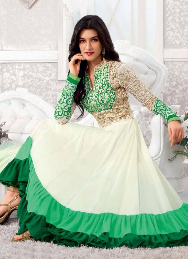 Kriti Sanon Off White And Green Georgette Anarkali Salwar Suit