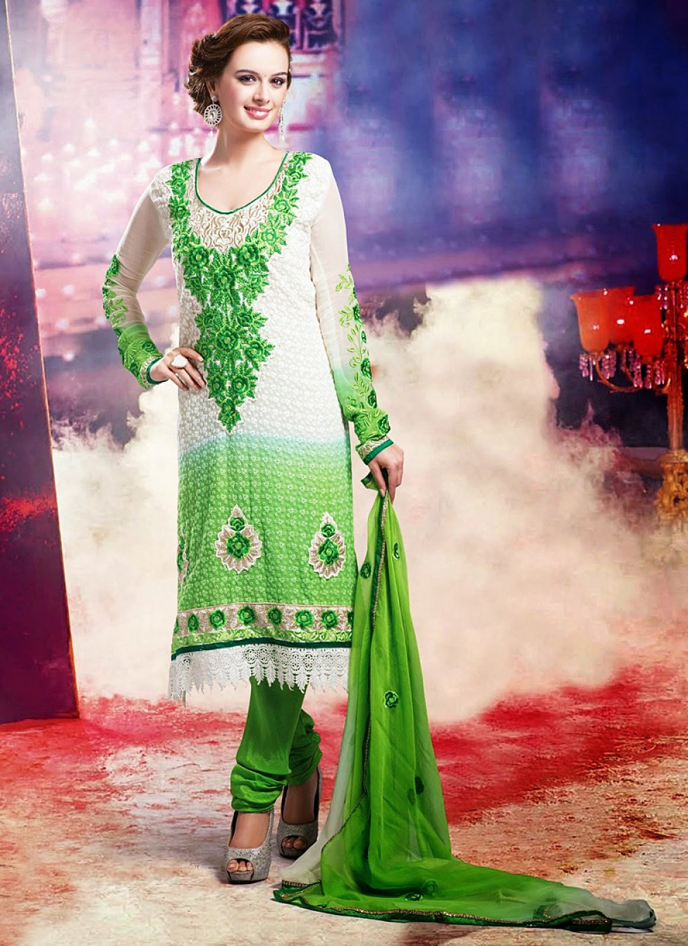 Off White And Green Resham Work Georgette Churidar Suit