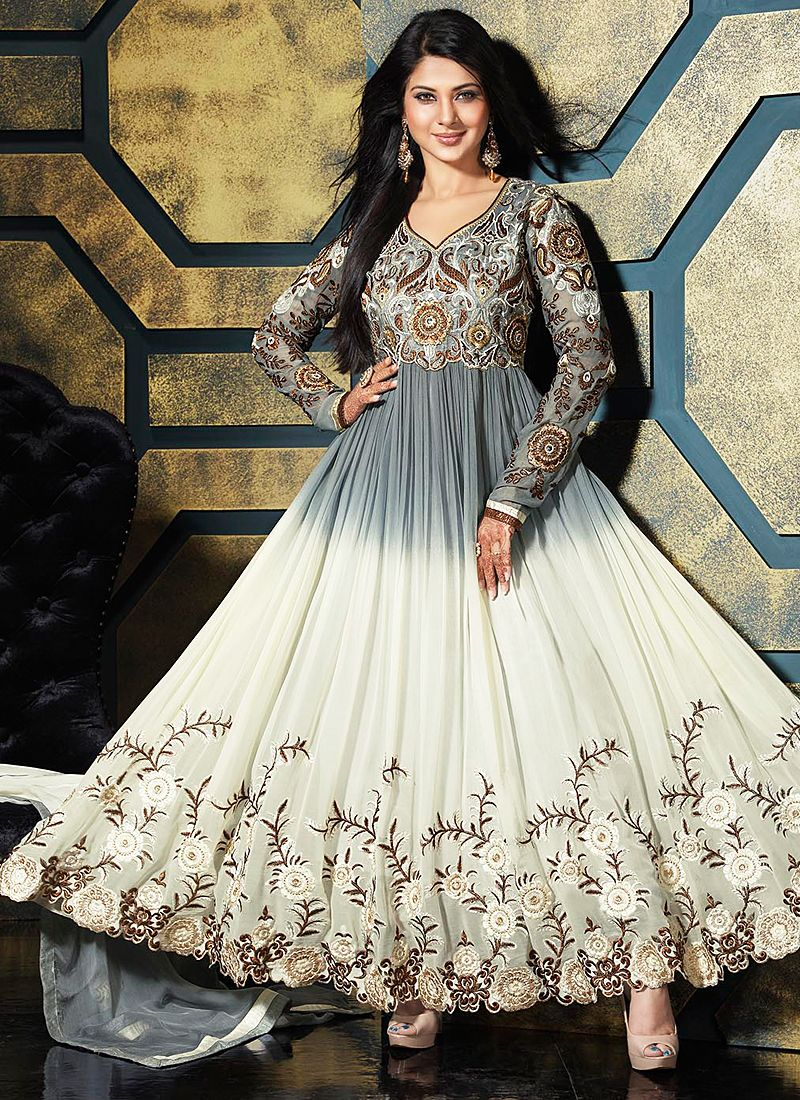Off White And Grey Zari Work Anarkali Suit