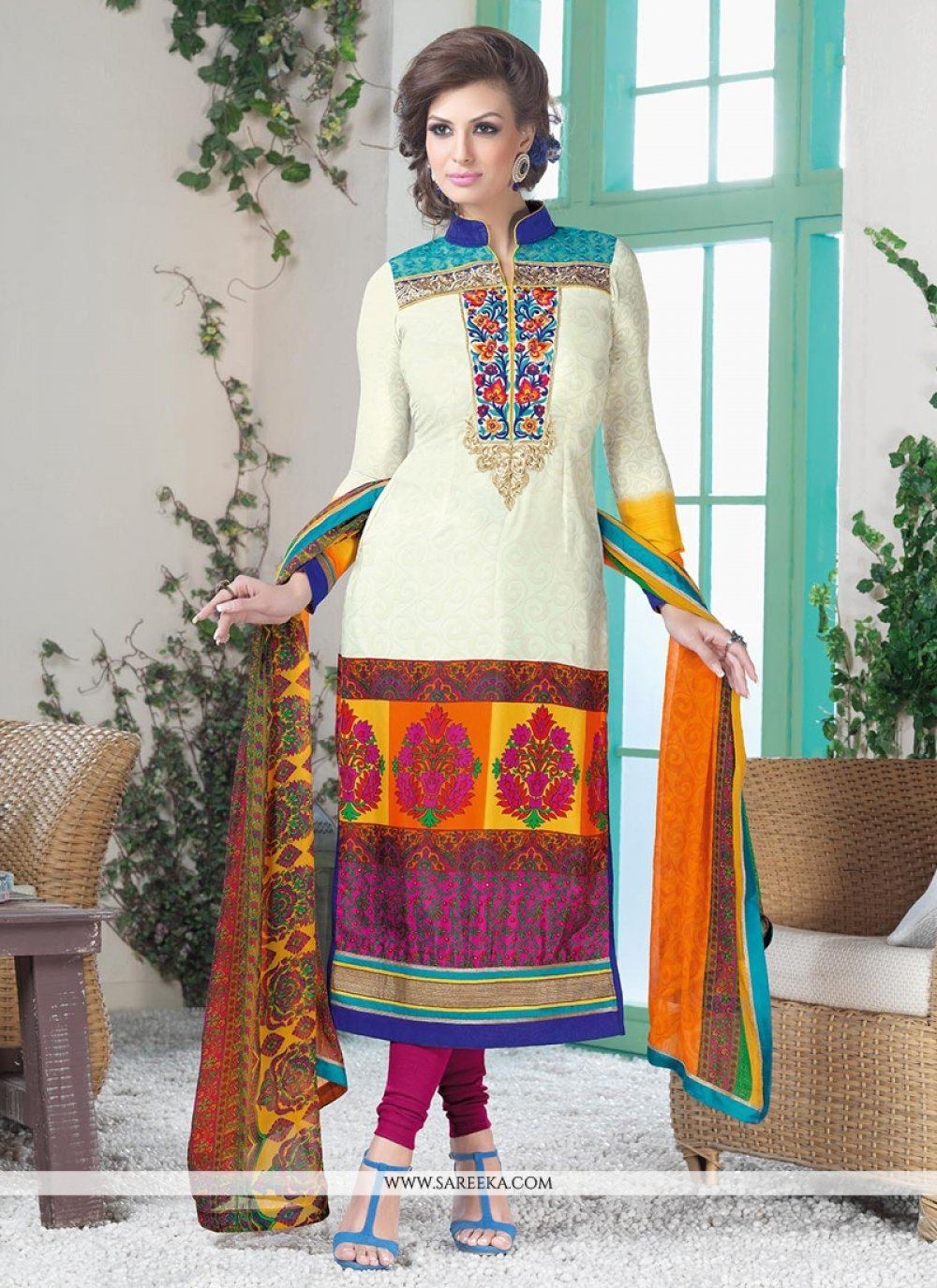 Off White And Magenta Crepe Silk Churidar Suit