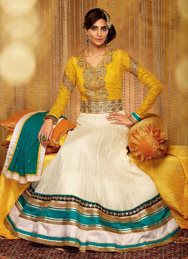 Off White And Mustard Patch Border Georgette Anarkali Suit