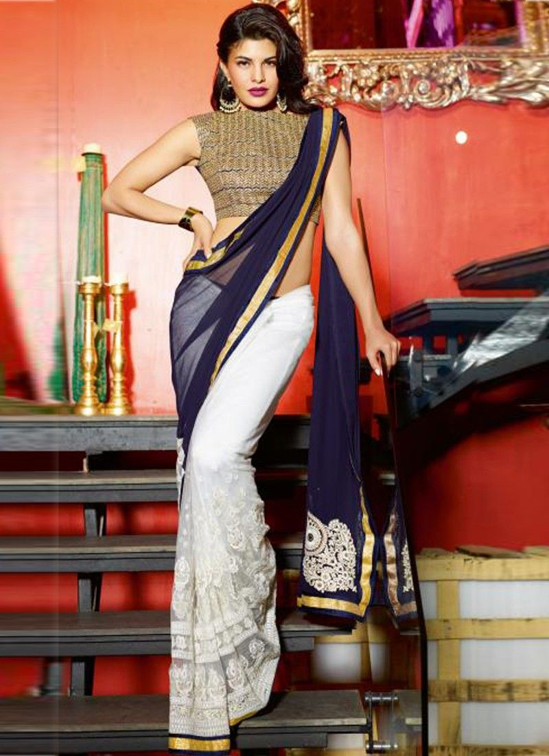 Off White And Navy Blue Resham Work Net Saree