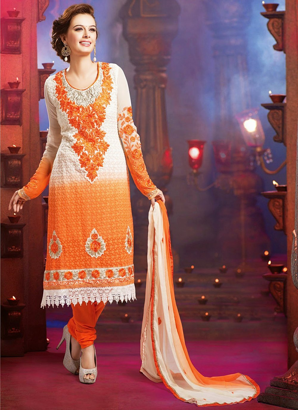 Off White And Orange Embroidery Work Churidar Suit