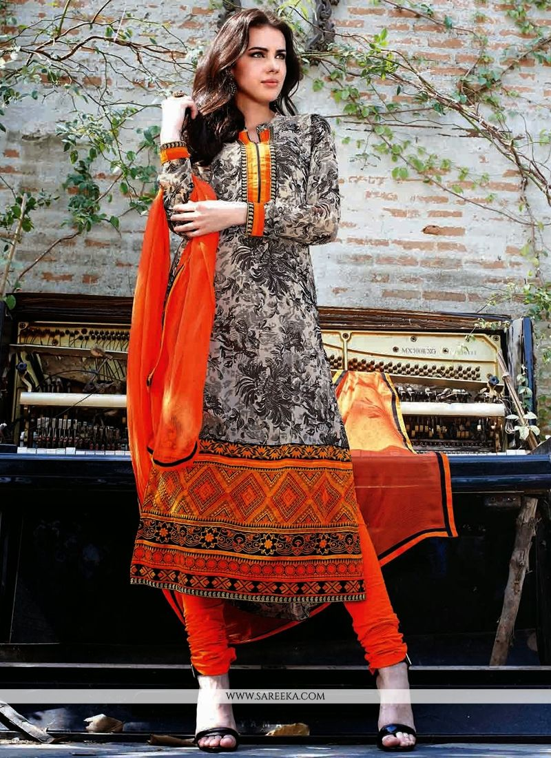 Off White And Orange Georgette Churidar Suit