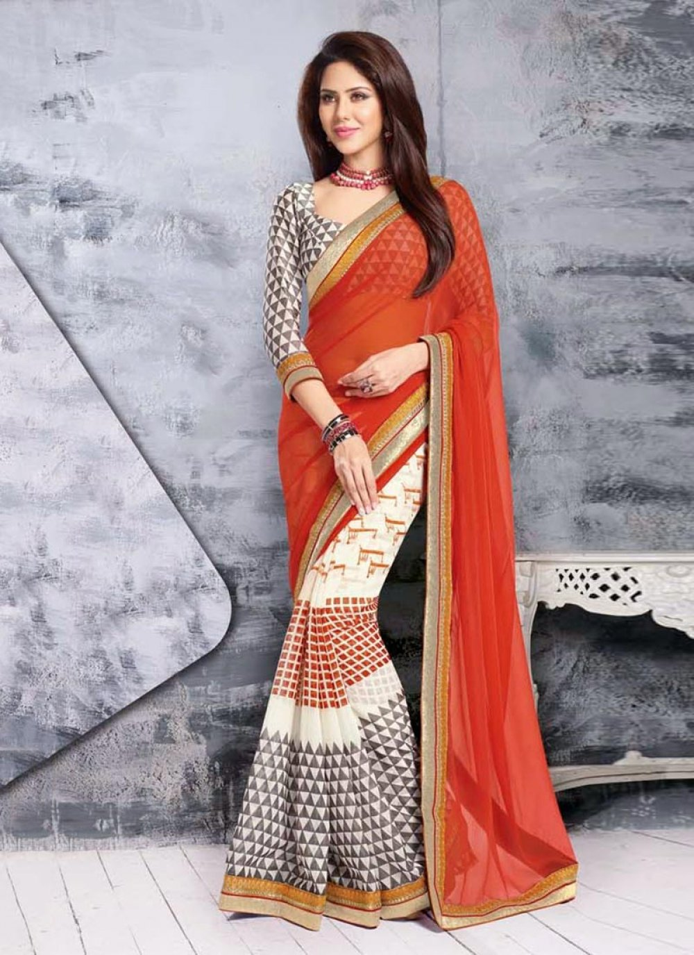 Off White And Orange Net Half And Half Saree