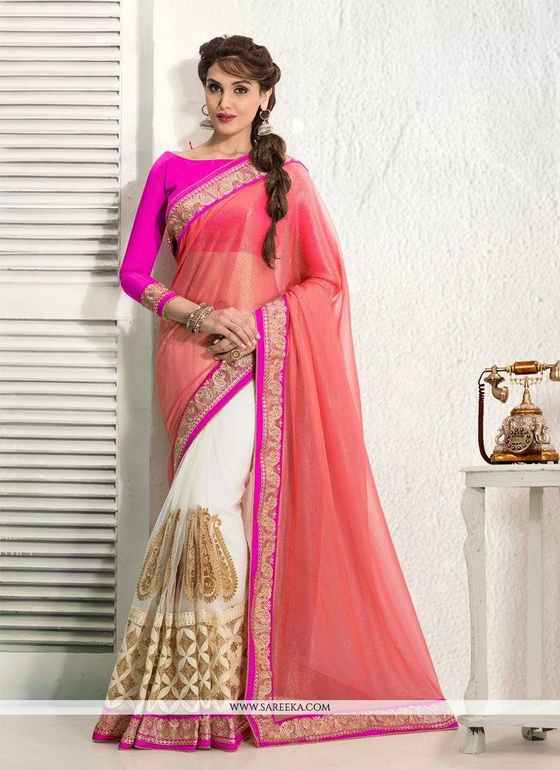 Off White And Peach Net Designer Saree