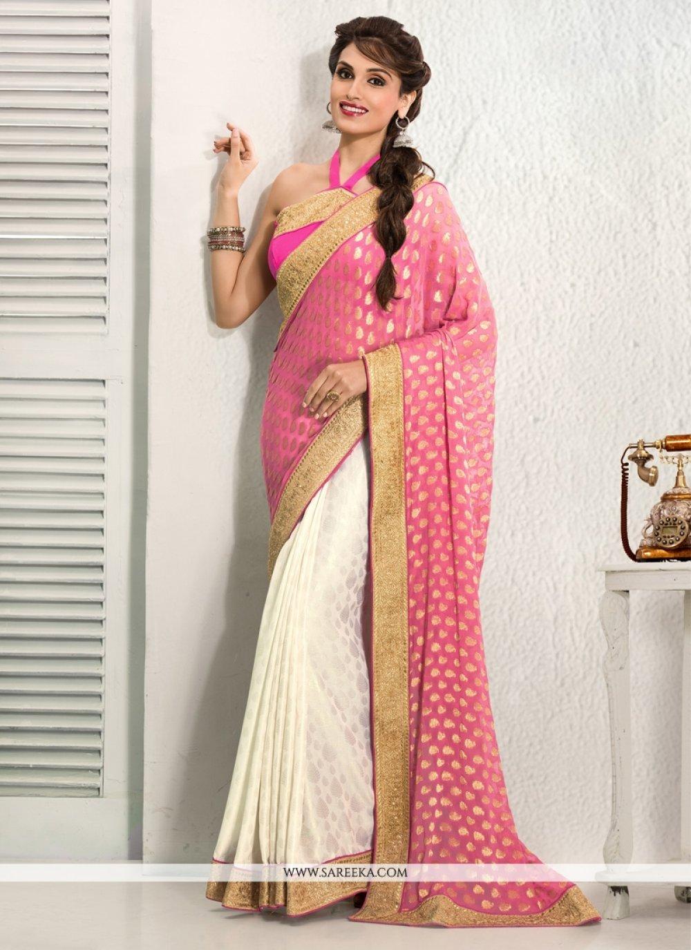 Off White And Pink Crepe Designer Saree