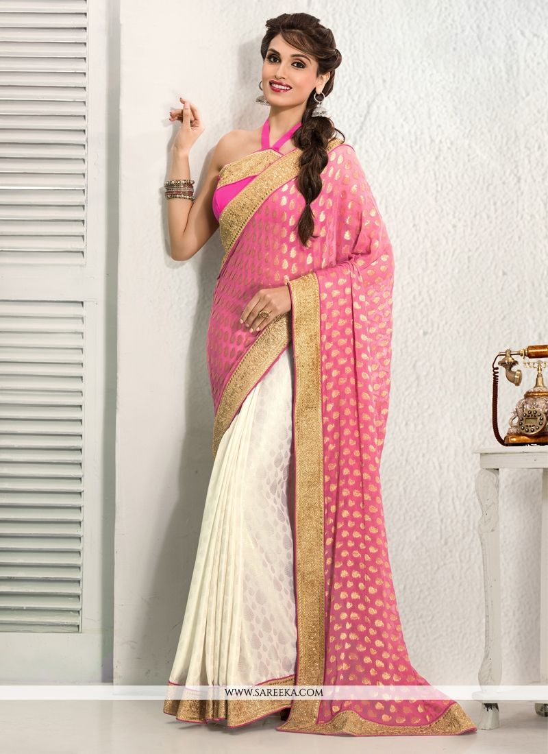 Off White And Pink Crepe Designer Saree