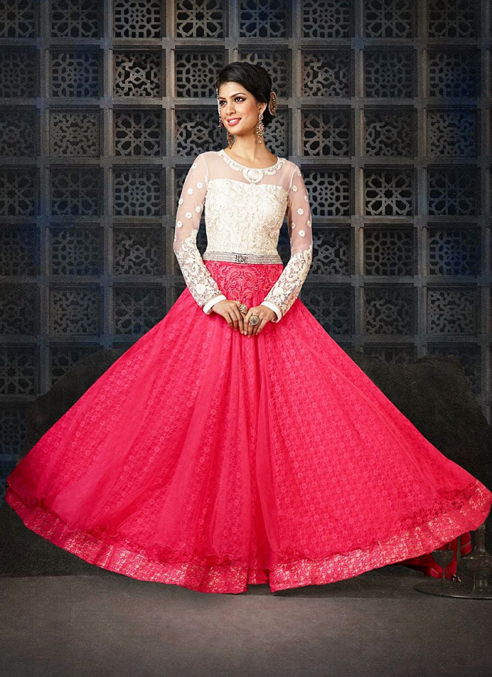 Off White And Pink Embroidery Net Anarkali Suit
