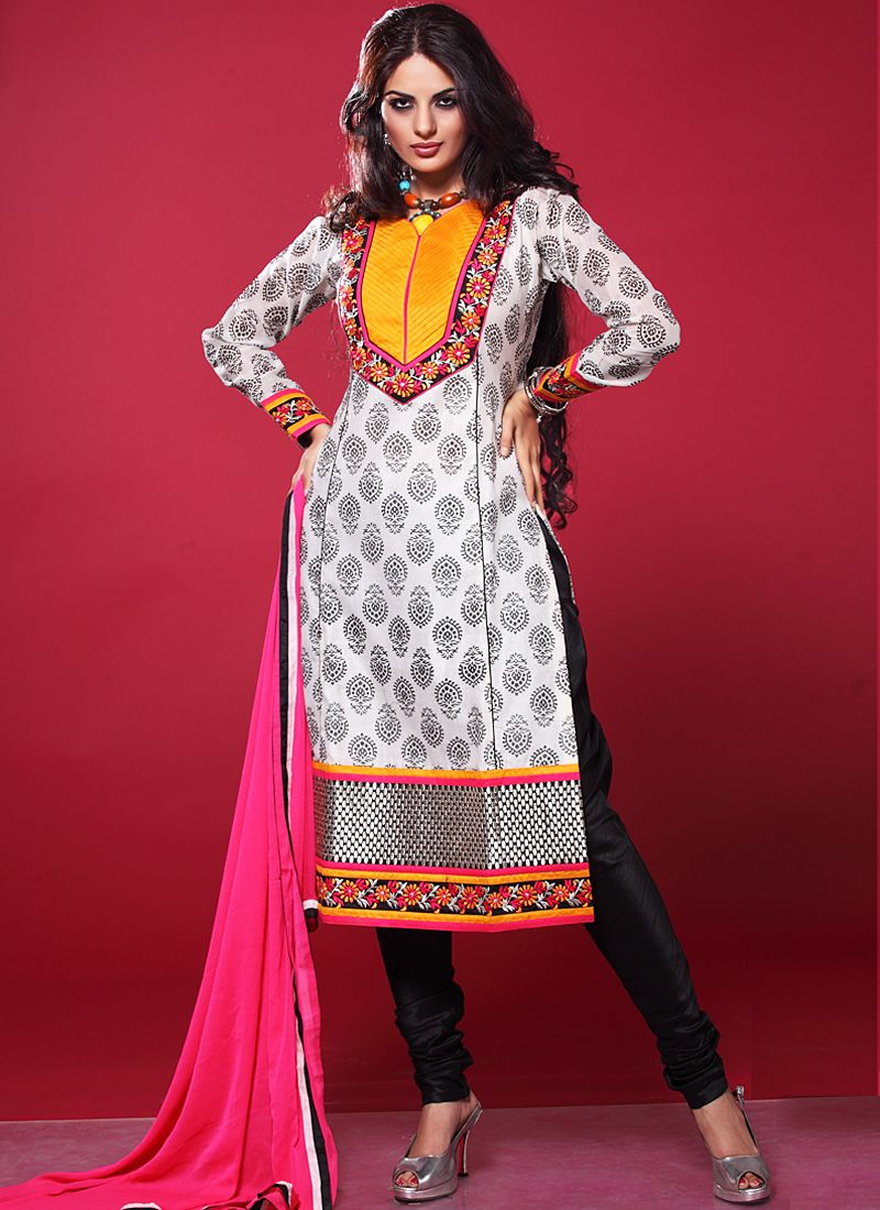 Off White And Pink Embroidery Work Churidar Suit