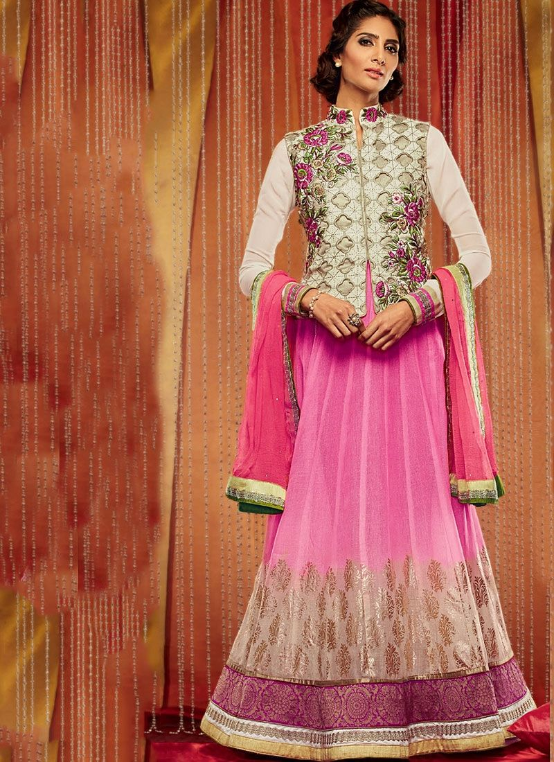 Off White And Pink Embroidery Work Georgette Anarkali Suit