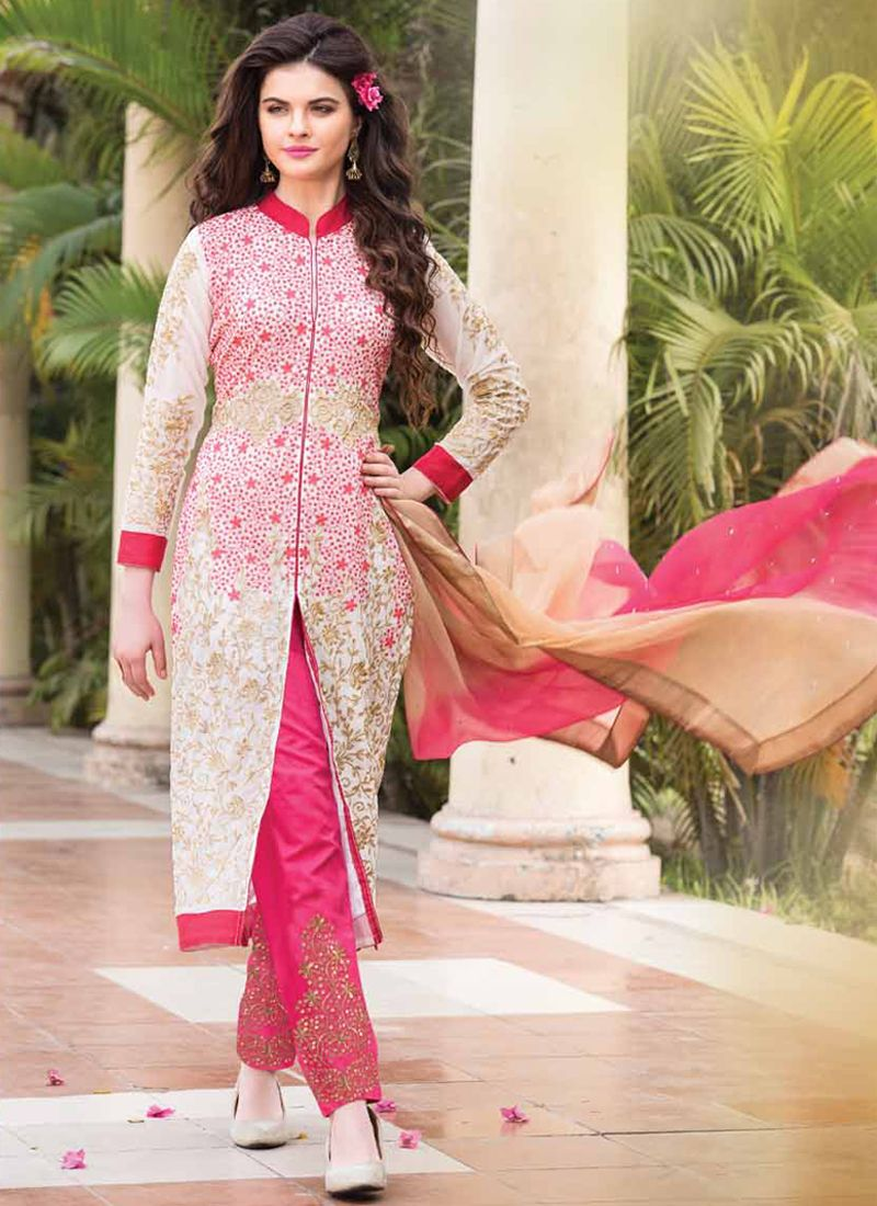 White And Pink Embroidery Work Pant Style Suit