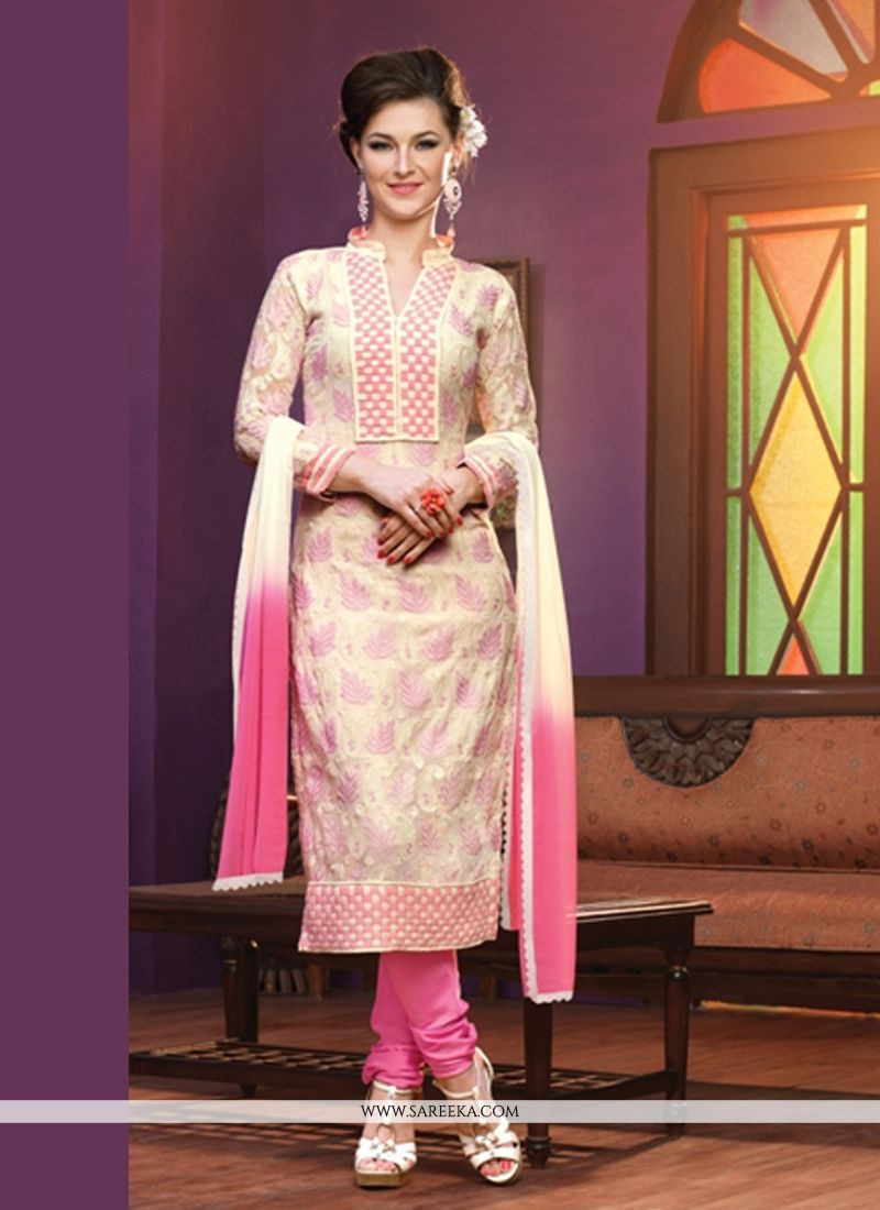 Off White And Pink Georgette Churidar Salwar Suit