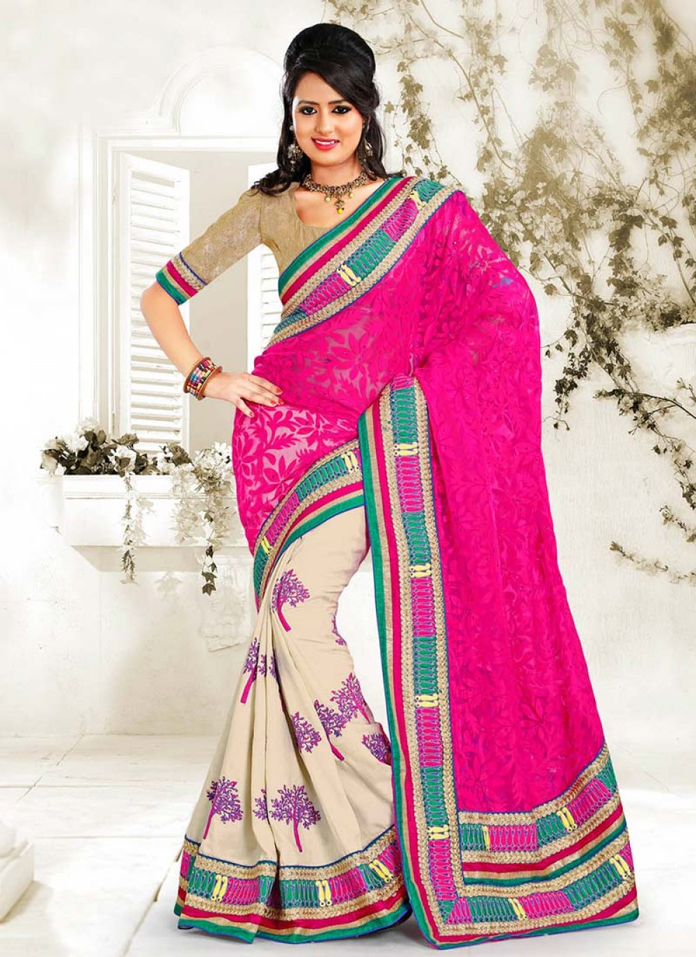 Off White And Pink Half And Half Saree