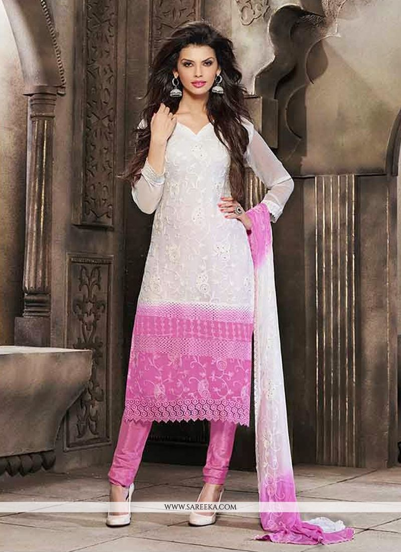 ce2cee2c16 Off White And Pink Resham Work Churidar Salwar Suit -