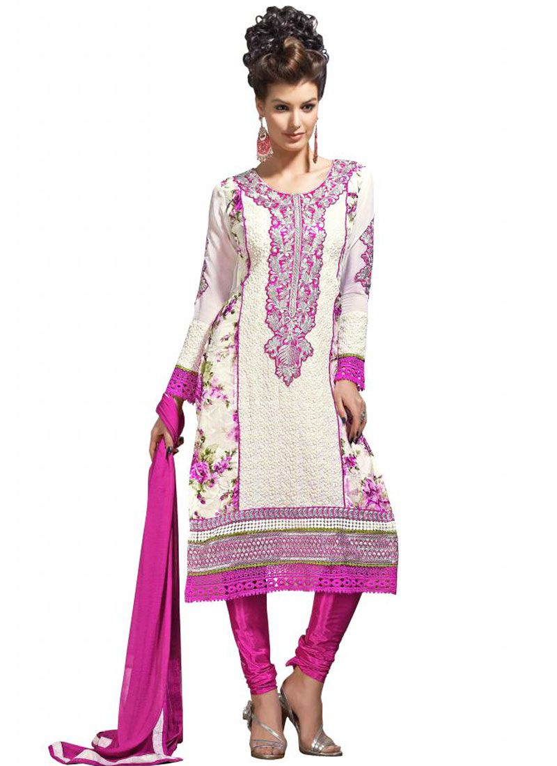 Off White And Pink Resham Work Georgette Churidar Suit