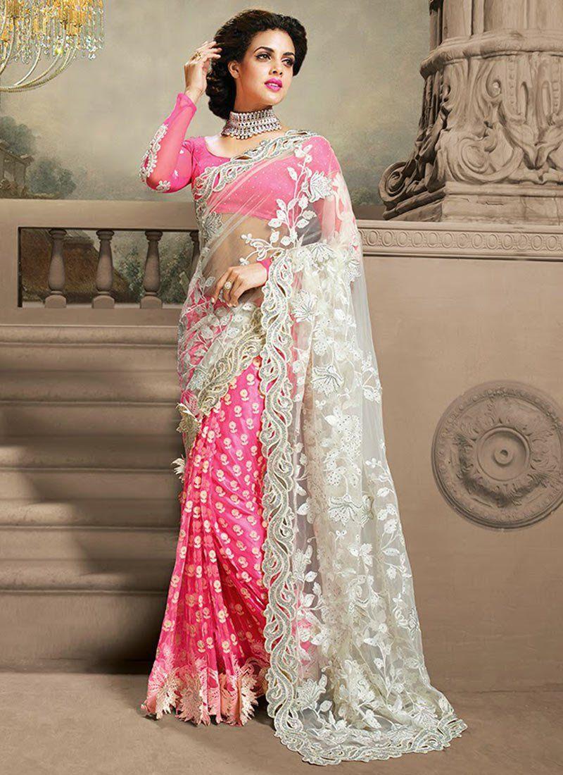 Off White And Pink Resham Work Net Bridal Saree