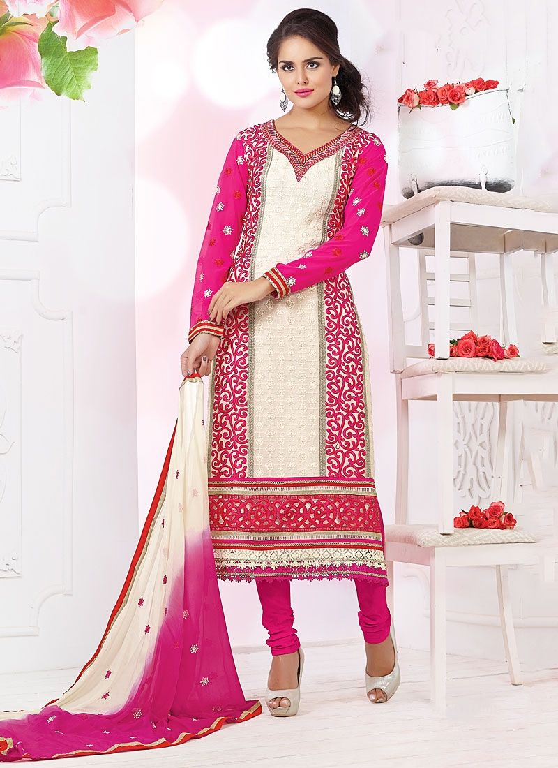 Off White And Pink Shaded Embroidery Churidar Suit