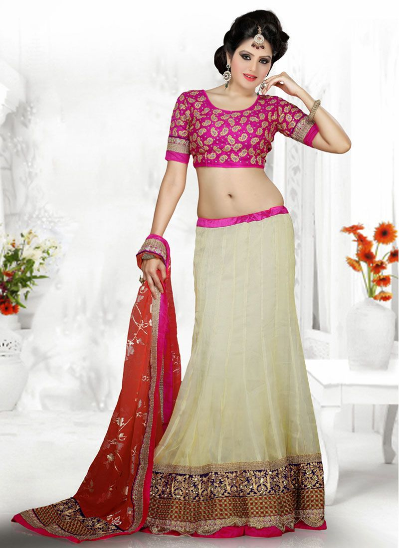 Off White And Pink Zari Work Lehenga Choli