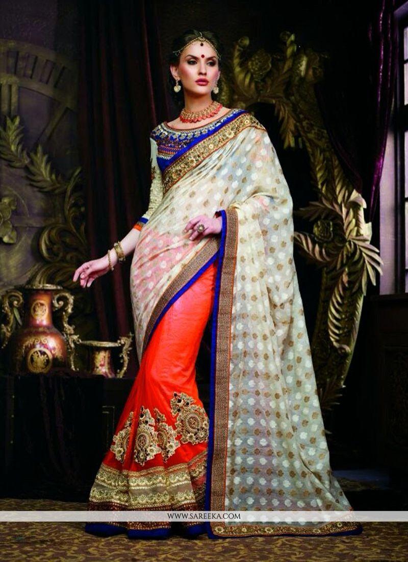 Off White And Red Banarasi Designer Saree