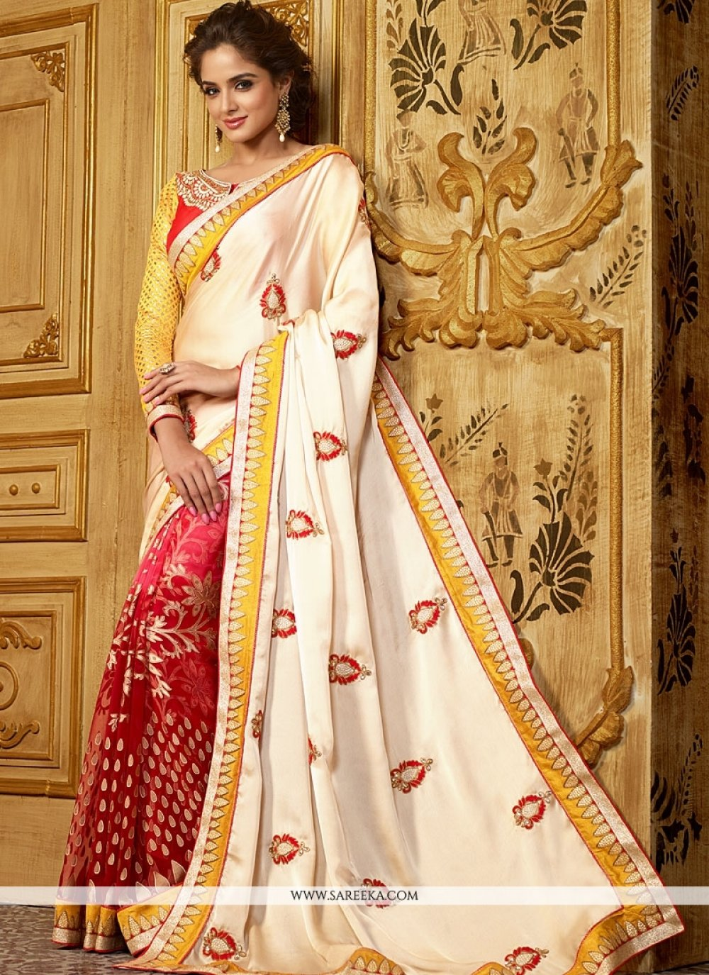 Off White And Red Georgette On Silk Saree