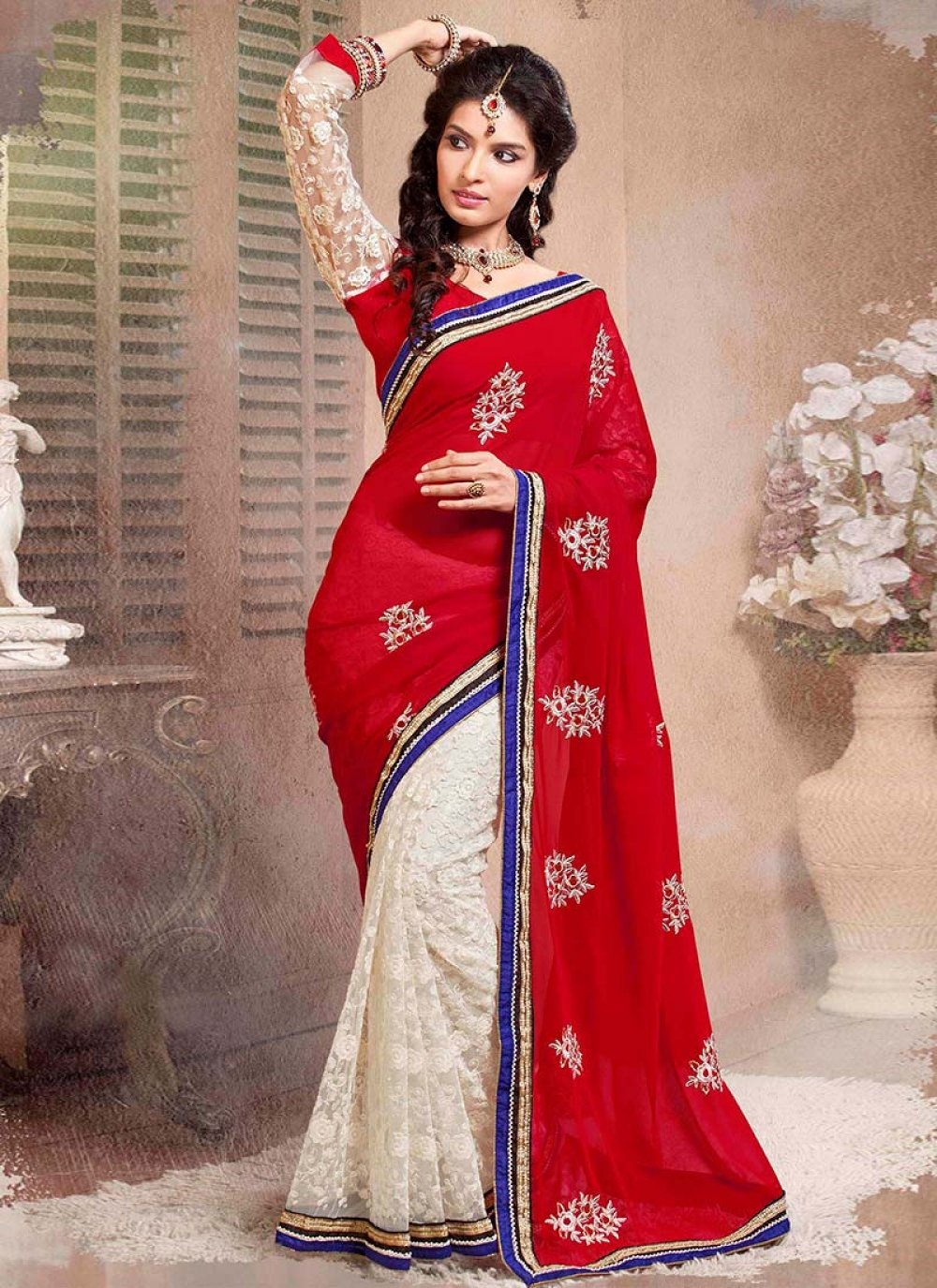Off White And Red Half And Half Saree