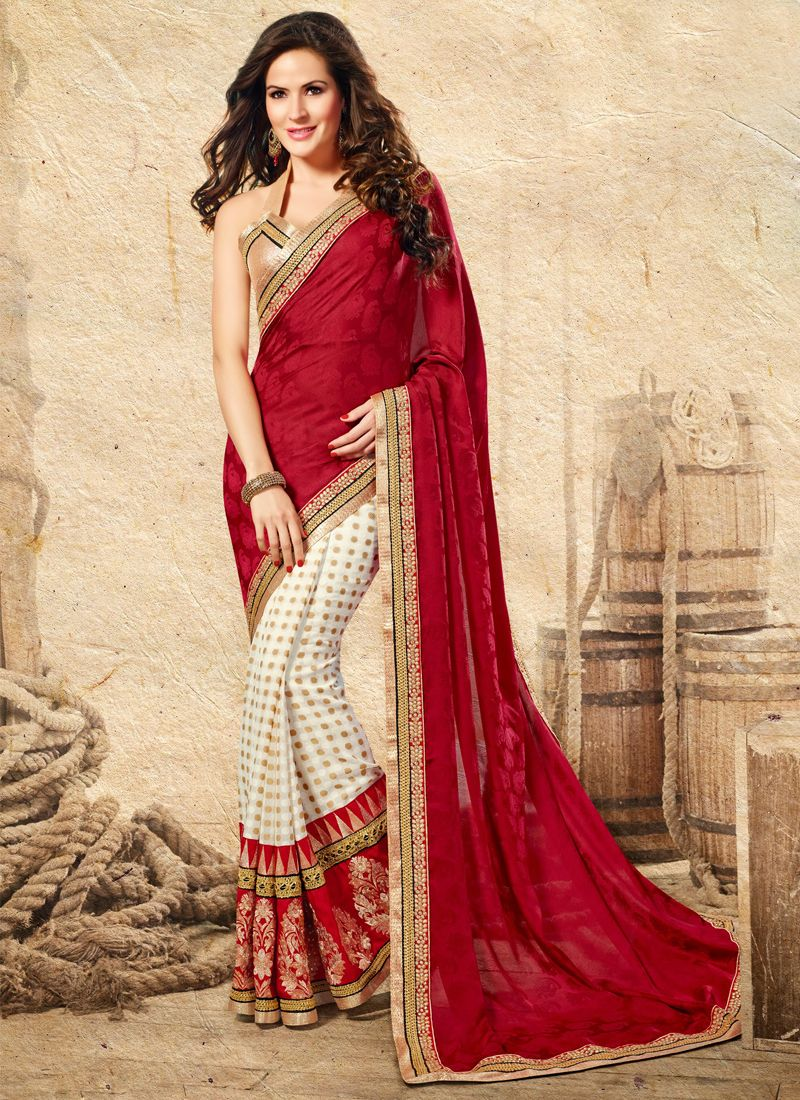 Off White And Red Jacquard Saree