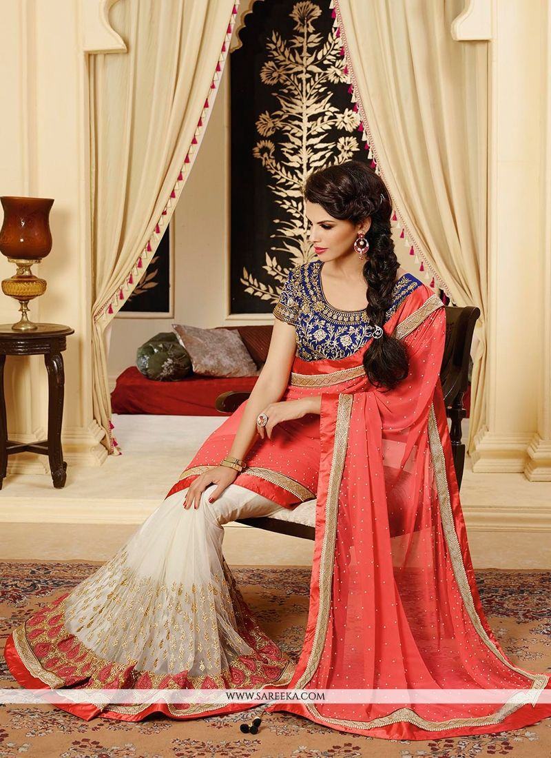 Off White And Red Net And Georgette Saree