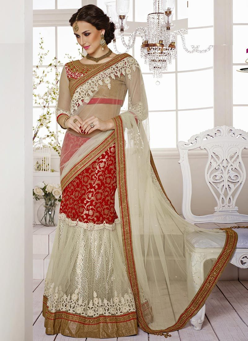 Off White And Red Net Lehenga Saree