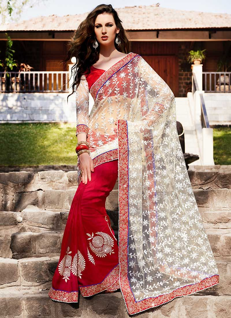 Off White And Red Net Patch Border Work Saree