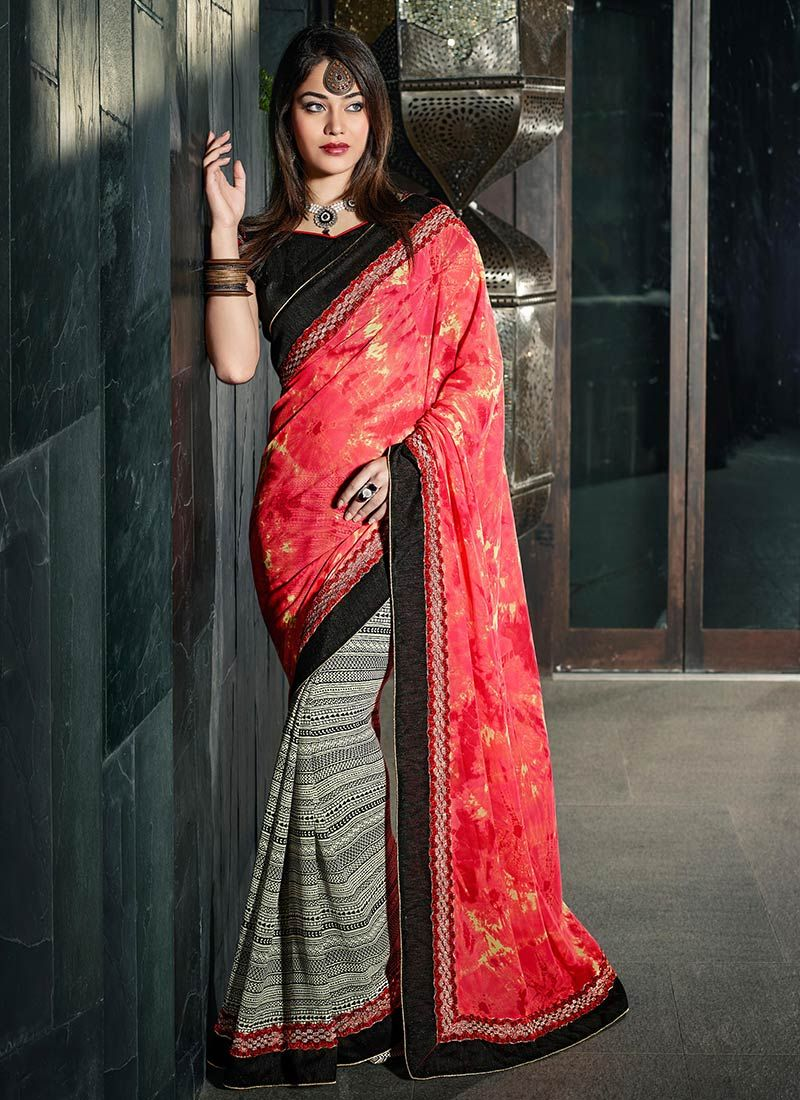 Off White And Red Printed Half And Half Saree