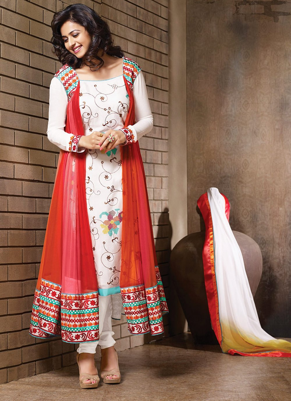 Off White And Red Resham Work Net Anarkali Suit