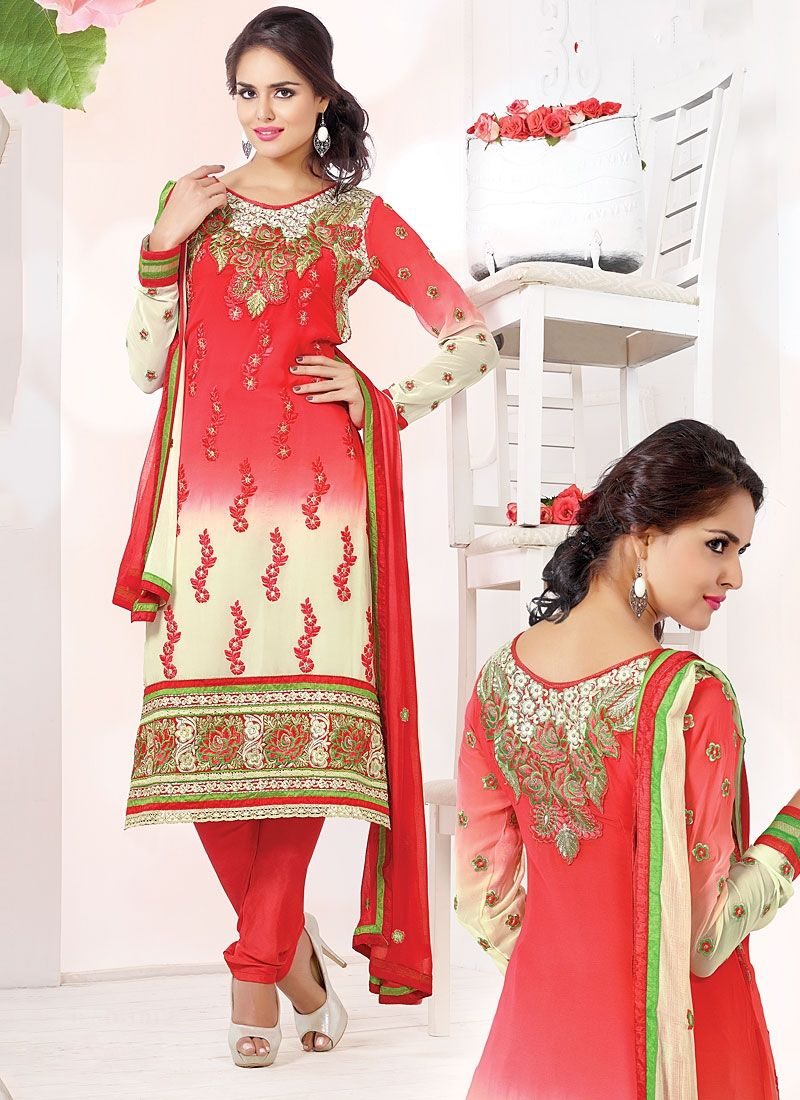 Off White And Red Shaded Viscose Churidar Suit