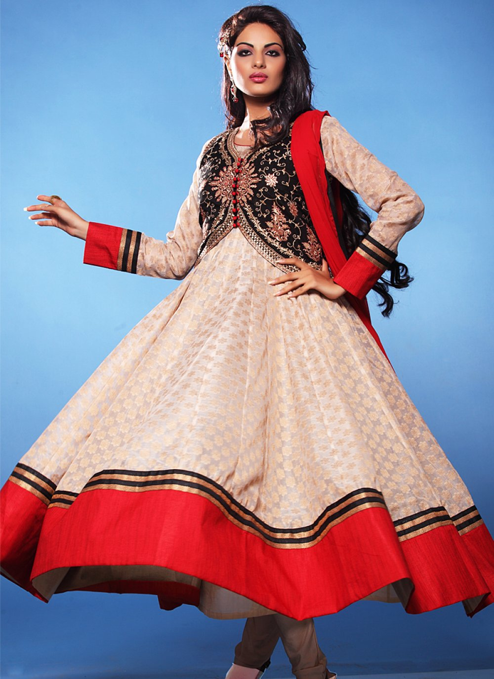 Off White And Red Stone Work Anarkali Suit