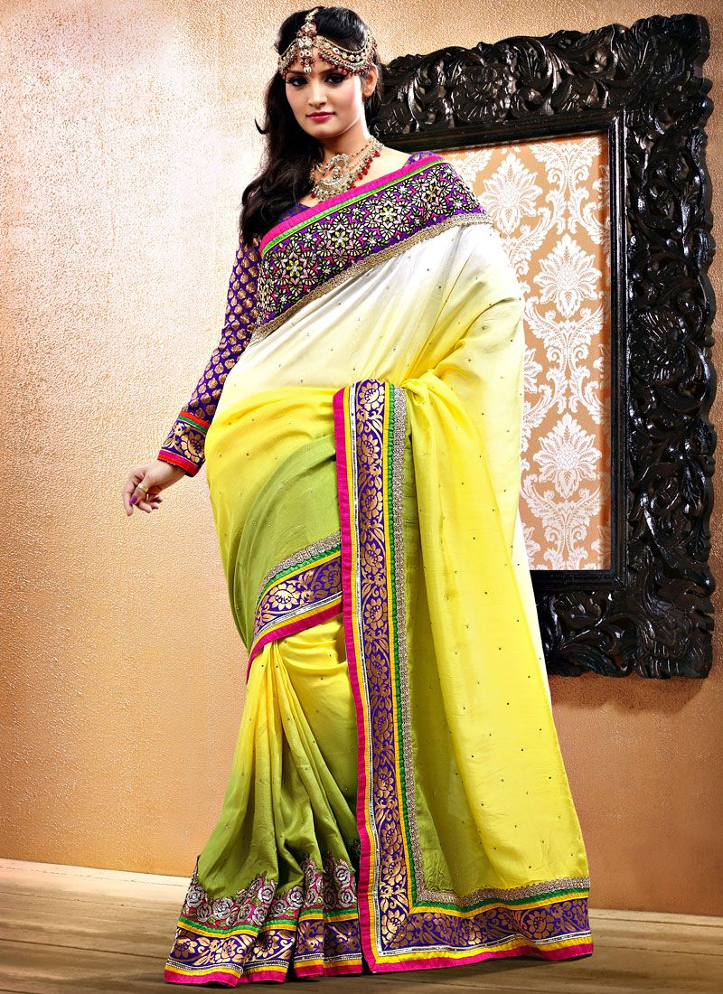 Off White And Yellow Art Silk Saree