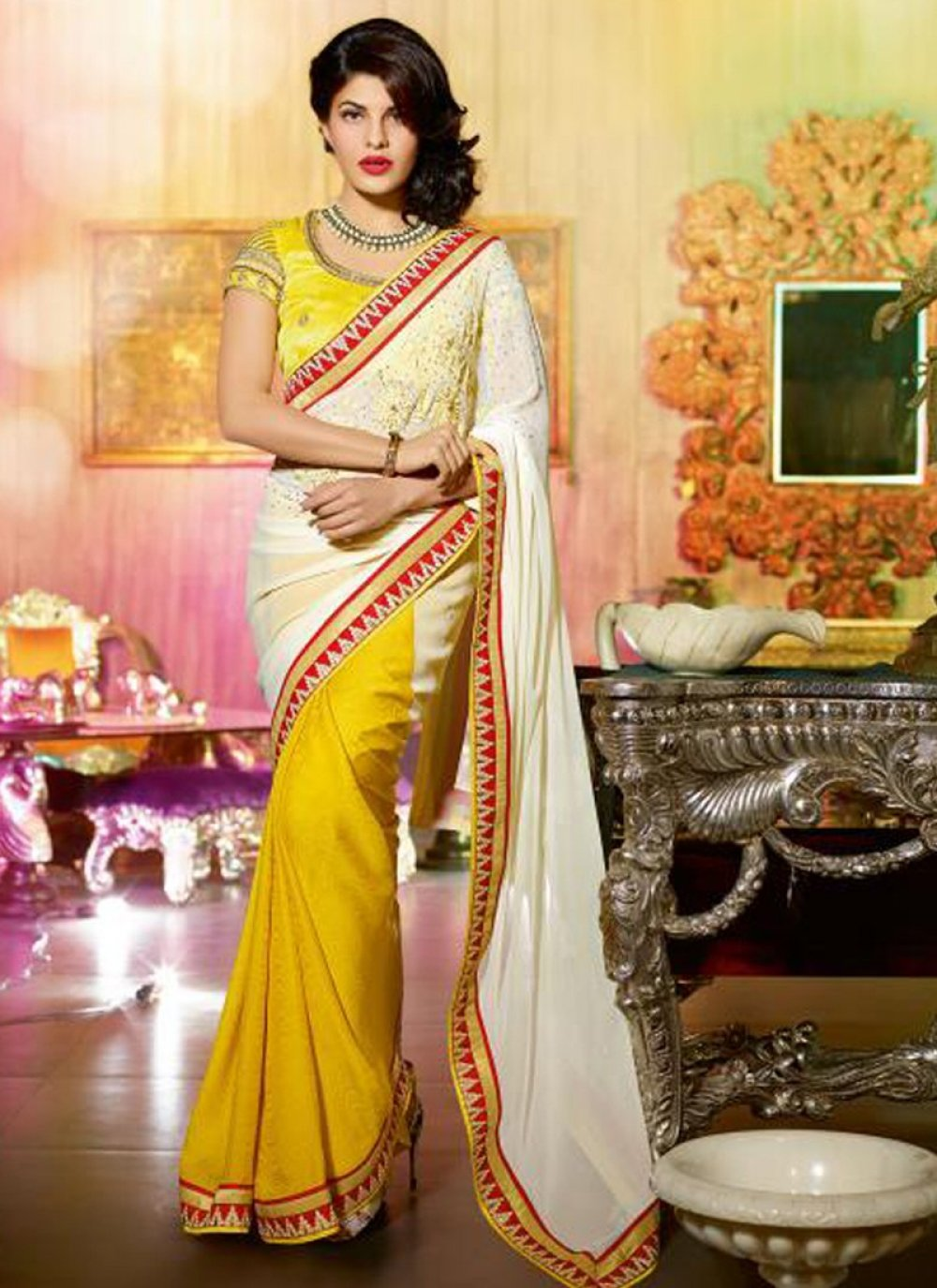 Off White And Yellow Patch Border Work Saree