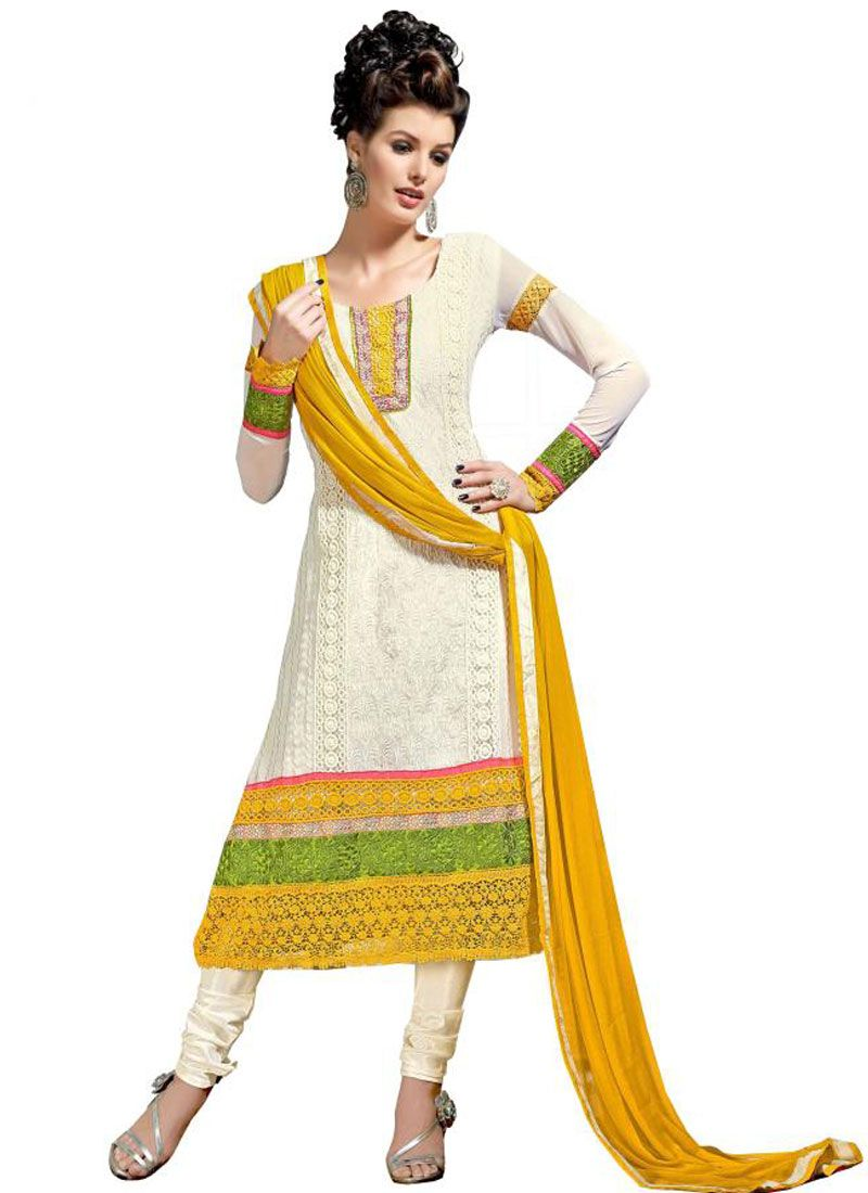 Off White And Yellow Resham Work Churidar Suit