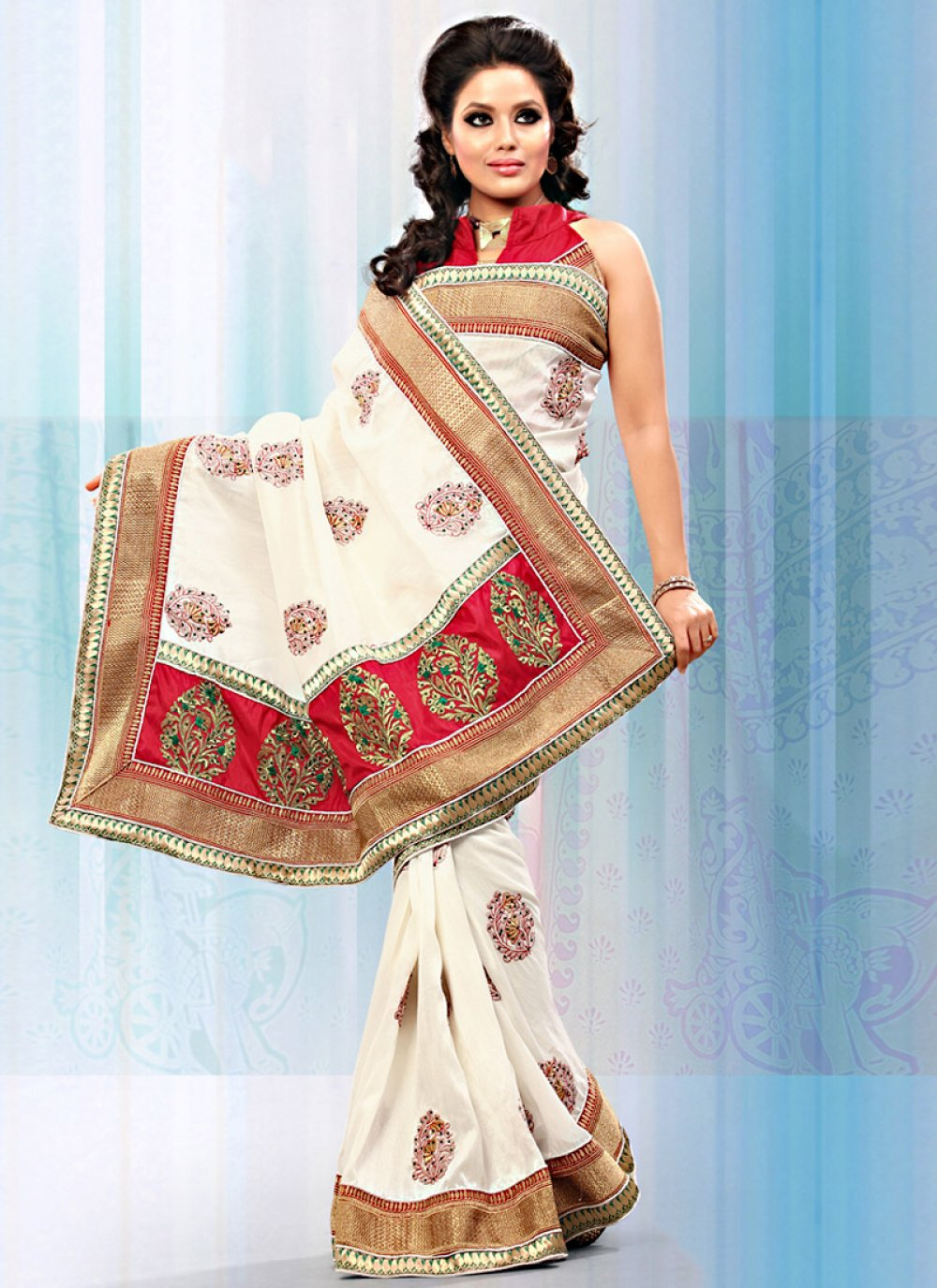 Off White Art Bhagalpuri Silk Saree