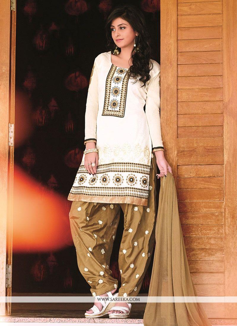 Off White Banarasi Jacquard Punjabi Salwar Suit